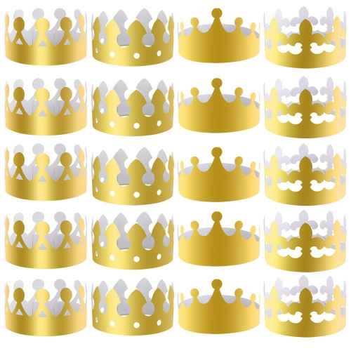 UNICORN ELEMENT 28 Pieces Gold Paper Crowns Party King Crown Paper Hats for Party and Celebration