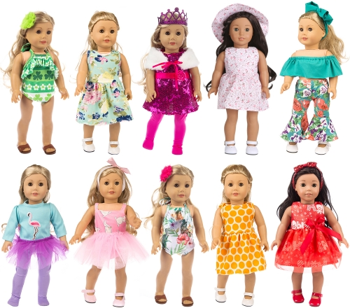 ZITA ELEMENT 24 Pcs American 18 Inch Girl Doll Clothes Dress and Accessories