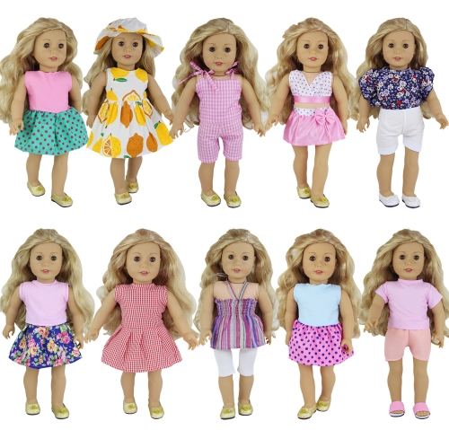 ZITA ELEMENT 10 Sets Handmade Fashion Clothes and Outfits for American 16-18 Inch Girl Doll  Accessories