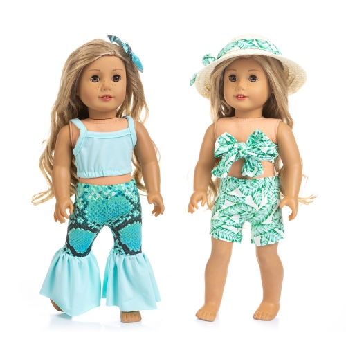 ZITA ELEMENT 2 Sets American Doll Hawaiian Beach Clothes and Hair Accessories for 18 Inch Girl Doll Swimsuit Outfits