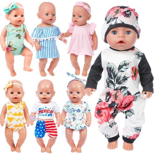 ZITA ELEMENT 7 Sets 14 - 16 Inch Baby Doll Clothes Dress Swimsuits Jumpsuits Headbands for 43cm New Born Baby Doll, 15 Inch Bitty Baby Doll