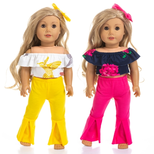 ZITA ELEMENT 2 Sets Fashion American 18 Inch Girl Doll Off Shoulder Clothes for 18 Inch Doll Clothes Outfits