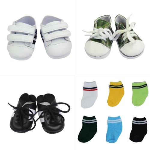 ZITA ELEMENT Lot 9 Handmade Doll Shoes and Socks for American 18 inch Girl Boy Doll - 3 Shoes and 6 Socks