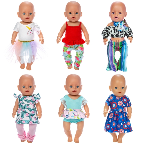 ZITA ELEMENT 6 Sets 14-16 Inch Baby Doll Clothes Dresses Outfits Swimsuit for 43cm New Born Baby Dolls, 15 Inch Bitty Baby Doll, American 18 Inch Girl