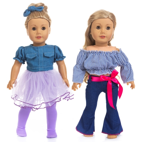 ZITA ELEMENT 2 Set Fashion Doll Clothes and Dress for American 18 Inch Girl Doll Outfits