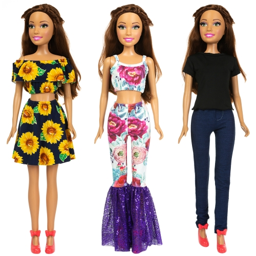 ZITA ELEMENT 3 Sets Fashion 28 Inch Barbie Girl Doll Clothes and Dress Outfits