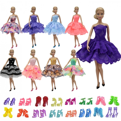 ZITA ELEMENT 11.5 Inch Barbie Fashion Mini Summer 5 PCS Dress +  Shoes