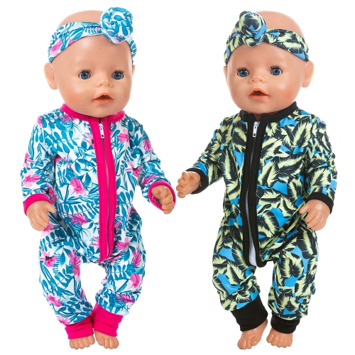 ZITA ELEMENT 2 Sets Baby Doll Clothes Outfits Jumpsuits with 2 Headbands for 14-16 Inch Baby Doll, 43cm New Born Baby Doll, 15 Inch Bitty Baby Doll