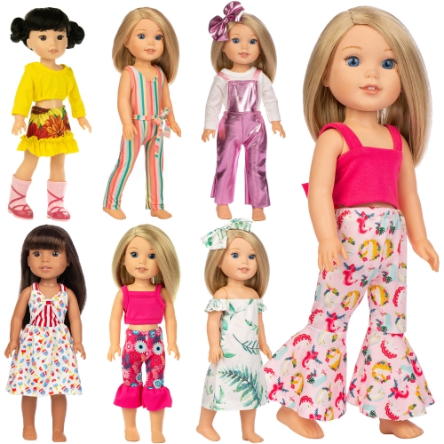 ZITA ELEMENT 7 Sets Quality Cute Wellie Doll Clothes and Dress for American 14.5 Inch Girl Doll and Other 14 Inch to 14.5 Inch Wishers Dolls Clothing