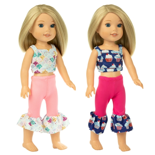 ZITA ELEMENT Fashion Quality 2 American 14.5 Inch Girl Wellie Doll Clothes for 14 Inch - 14.5 Inch Wishers Doll Clothes Outfits Gift