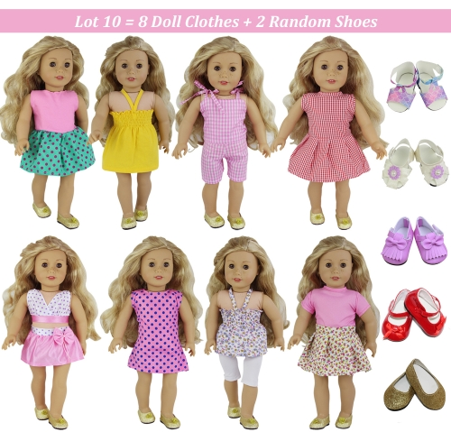 ZITA ELEMENT Fashion 8 Sets Clothes Dress and 2 Shoes for American 18 Inch Girl Doll Outfits