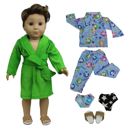 ZITA ELEMENT 2 Sets Pajamas Bathrobe with 2 Underpants and 1 Slippers Shoes for American 18 inch Boy Doll Logan Doll Nightgown Sleepwear Clothes Outfi