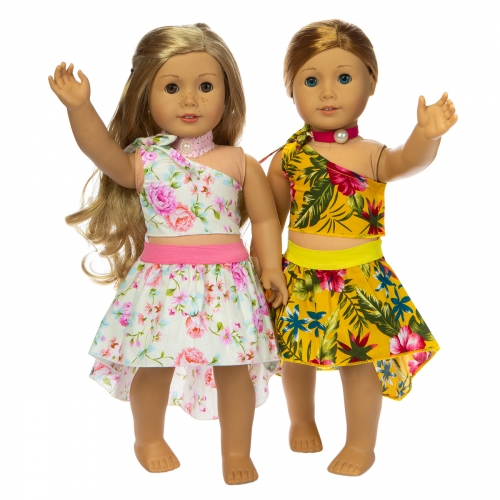ZITA ELEMENT 2 Sets Fashion 18 Inch Doll Clothes Hawaiian Dress for American 18 Inch Girl Doll Clothes and Other 18 Doll Clothes Beach Dress Outfits