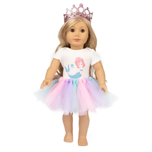ZITA ELEMENT 3 Pcs American 18 Inch Girl Doll Clothes & Accessories,  Best Gift of Washable Doll Outfits for Kids