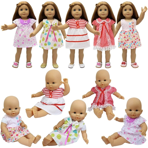 ZITA ELEMENT Baby Doll Clothes - 5 Sets Handmade Dresses Cute Clothing for 14-16 Inch Alive Doll and American 18 Inch Girl Doll Xmas Gift
