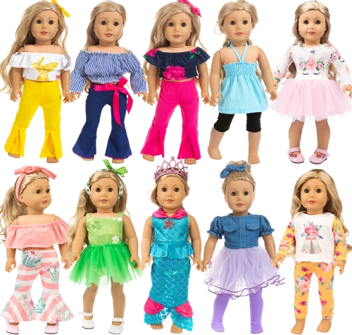 ZITA ELEMENT 24 Pcs American 18 Inch Girl Doll Clothes & Generation Life Matching Outfits