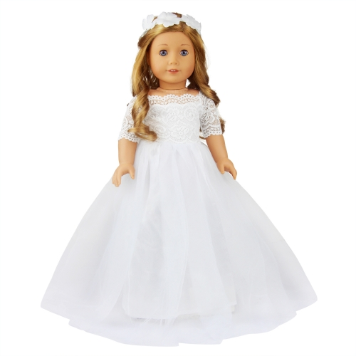 ZITA ELEMENT 18 Inch Doll Bride Wedding Dress with Headband for American Doll Girl Party Gown Dress Clothes Outfits and Hair Accessories
