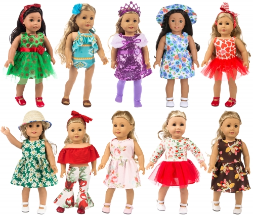 ZITA ELEMENT 23 Pcs American 18 Inch Girl Doll Clothes Dress and Accessories