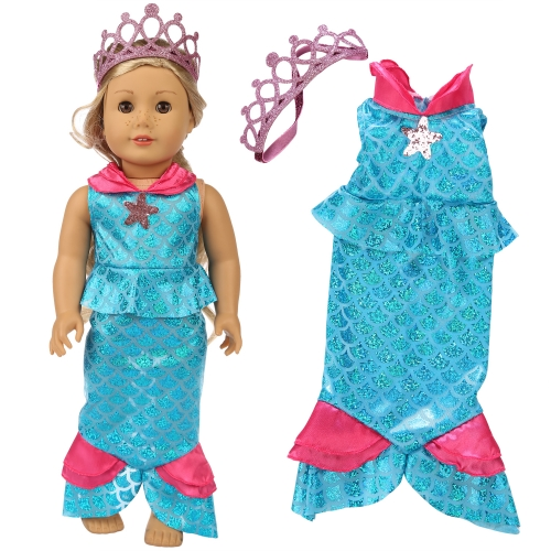 ZITA ELEMENT American 18 Inch Girl Doll Mermaid Clothes Dress and Crown Accessories for 18 Inch Girl Doll Outfits