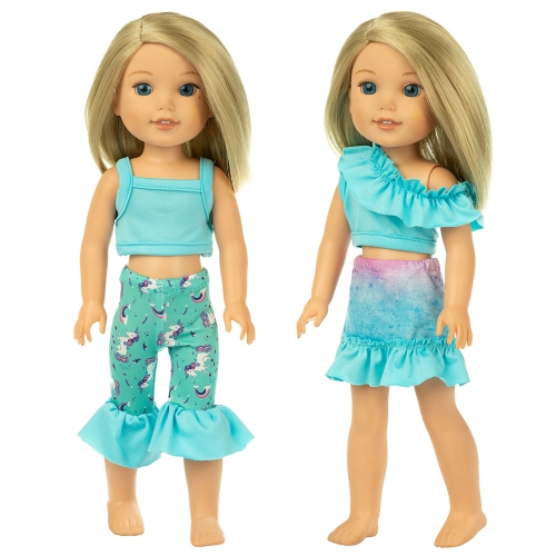 ZITA ELEMENT 2 Sets American 14.5 Inch Girl Wellie Doll Clothes Dress for 14 Inch 14.5 Inch Wishers Doll Clothes Outfits