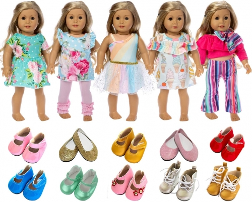 ZITA ELEMENT American 18 Inch Girl Doll Clothes Outfits, including Lot 7 of Dress and Shoes for Doll Clothes and Accessories