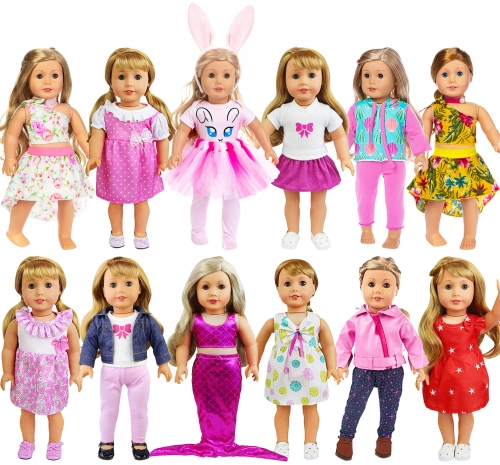 ZITA ELEMENT 26 Pcs American 18 Inch Girl Doll Clothes Dress and Accessories