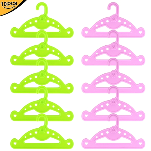 ZITA ELEMENT Clothes Hangers for American 18 Inch Girl Doll Wardrobe Accessories - 10 Pcs (5 Green and 5 Pink)