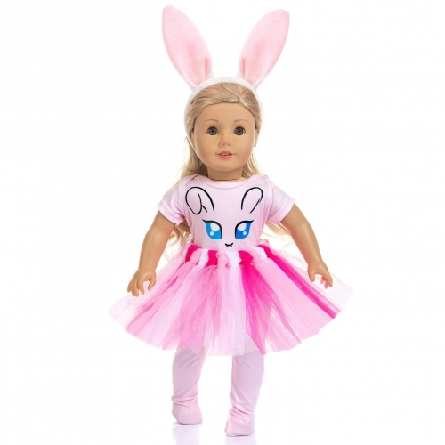 ZITA ELEMENT 4 Items Bunny Doll Clothes with Rabbit Hairband for American 18 Inch Girl Doll and Other 18 Inch Doll Easter Clothes Outfits