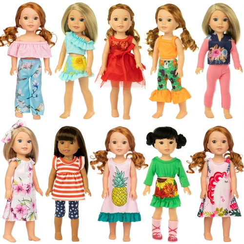 ZITA ELEMENT 14.5 Inch Girl Wellie Doll Casual Wear Clothes and Party Dress